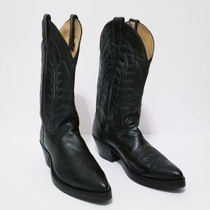 Vintage Miller Stockman Black Pointed Cowboy Boots